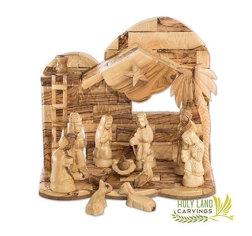 Olive Wood Nativity Set for Christmas - 13 Piece Figurines Nativity Scene With
