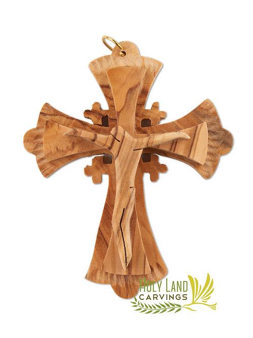 Jerusalem Cross Pendant - Wooden Jesus
