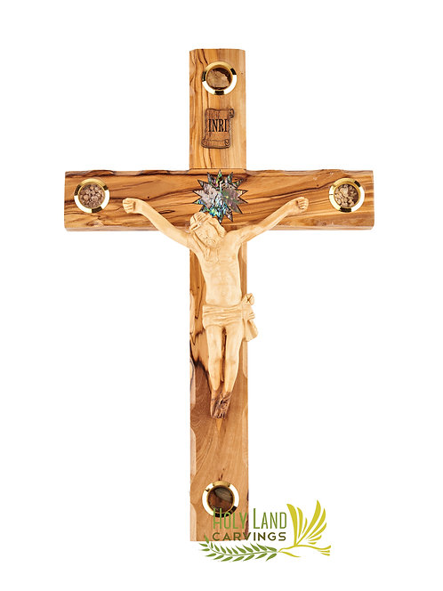 "14"" Olive Wood Cross for Home Décor with Wooden Carved Jesus and Relics"