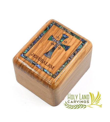 Olive Wood Box with Mother of Pearl Cross Décor, Keepsake Jewelry or Rosary Box