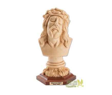 Olive Wood Hand Carved Bust of Jesus' Head Figurine