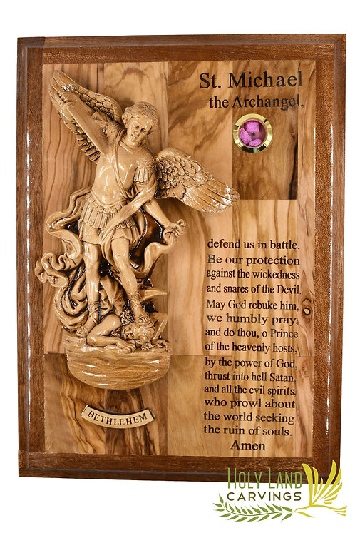St. Michael the Archangel Wall Hanging Made of Olive Wood