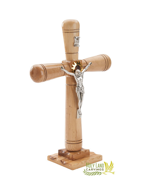 Holy Land Standing Crucifix Made of Olive Wood with Star of Bethlehem