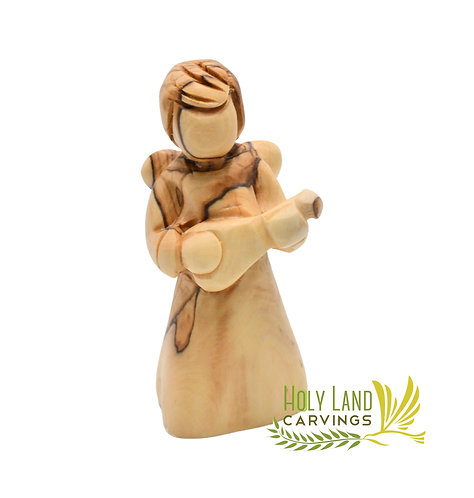 Hand Carved Olive wood Angel with musical instrument - The Mandolin