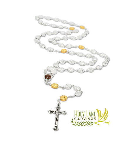 Silver Beads Rosary - Blessed Rosary from the Holy Land