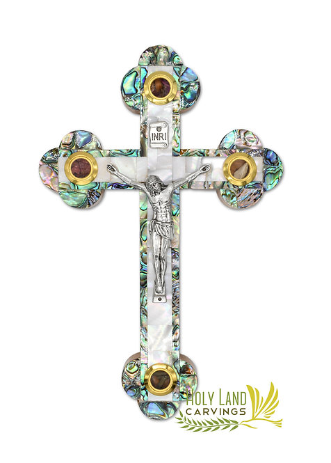 9 Inch Wall Cross Crucifix Covered with Mother of Pearl