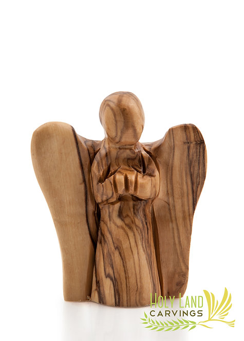 Praying Faceless Angel Figurine Made of Olive Wood