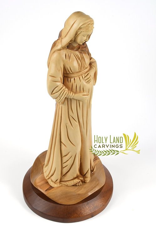 Olive Wood Pregnant Mary Masterpiece - Home Blessing Statue of The Holy Mother