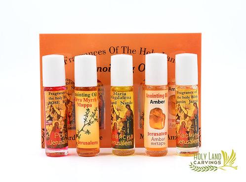 Set of 5 Anointing Oils Nard Rose Jasmine Myrrh Amber - Orange Box