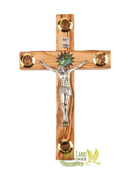 Olive Wood Wall Hanging Crucifix Cross with Mother of Pearl Bethlehem Star