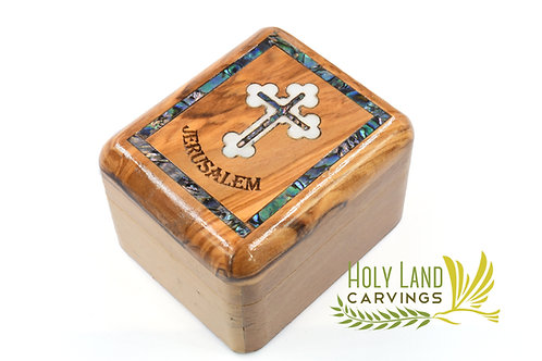 Olive Wood and Mother of Pearl Rosary Box