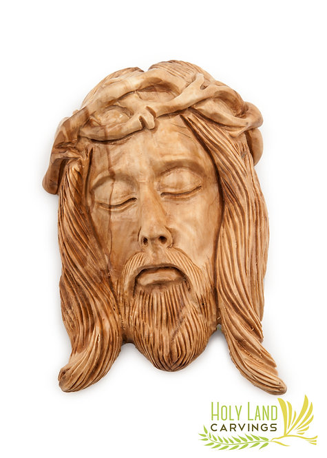 Jesus Face Wall Plaque Made of Olive Wood