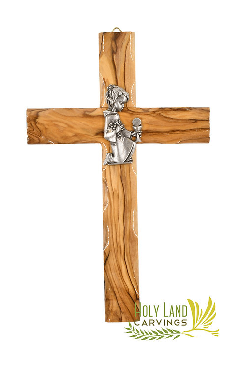 """8"""" Olive Wood Cross Gift For Confirmation and First communion For Girls and Boys"""