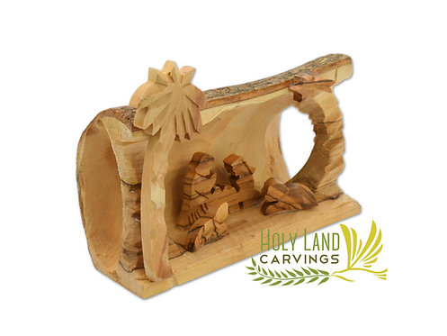 Nativity Scene carved inside a Solid Piece of Olive wood Branch