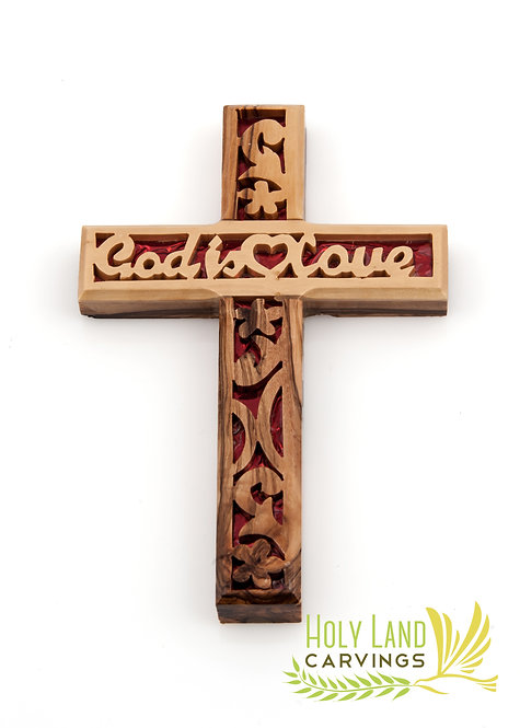 """God is Love Olive Wood 6"""" Wall Hanging Cross for Home Décor"""