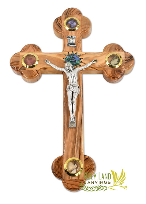 11 Inch Olive Wood Wall Crucifix Cross - Mother of pearl Star and Holy Relics