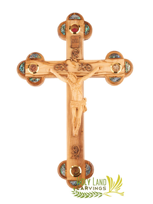 "15"" Large Wall Crucifix Made of Olive Wood and Mother of Pearl"