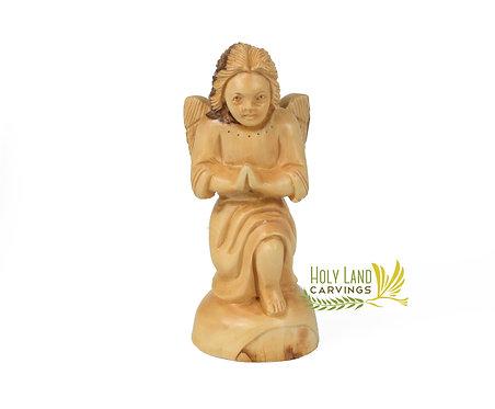 Olive Wood Angel Figurine with Facial Details - Kneeling Praying Angel