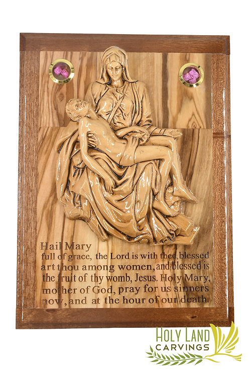 Pieta Wall Hanging Plaque Made of Olive Wood and Ceramic
