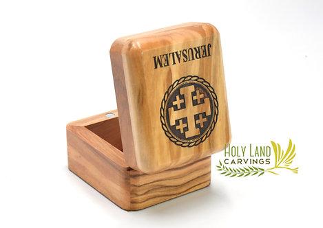 Jerusalem Cross Olive Wood Rosary Box/Keepsake Box