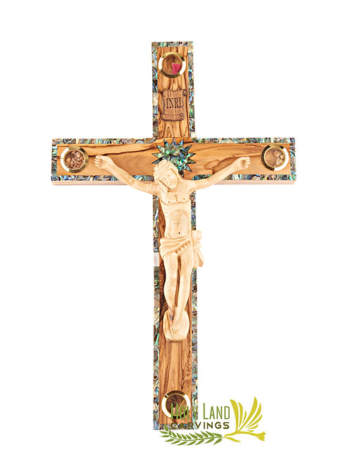 """14"""" Olive Wood Holy Land Crucifix with Mother of Pearl Stripe and Holy Relics"""