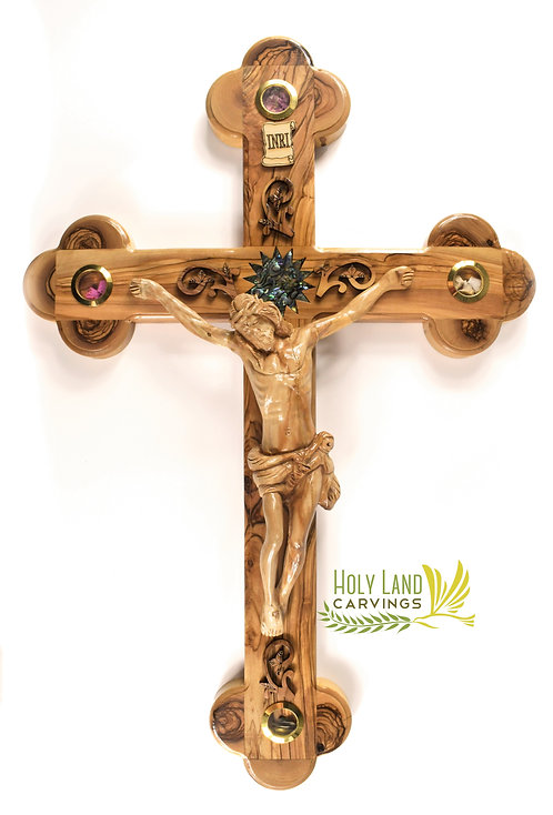 """Large 21"""" Olive Wood Wall Crucifix Cross With Mother of Pearl Star and 4 Glasses"""