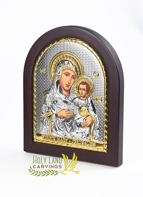 Icon of Mother of God & Baby Jesus, Silver Plated Home Blessing Icon - Medium