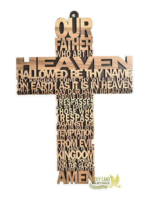 11 Inch Our Father Prayer Wooden Wall Hanging Cross