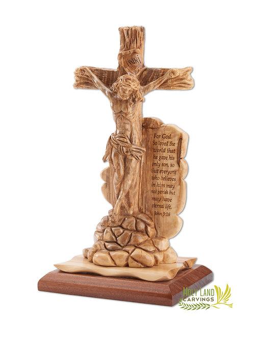 Crucifixion Olive Wood Statue - Jesus on Cross Master Piece