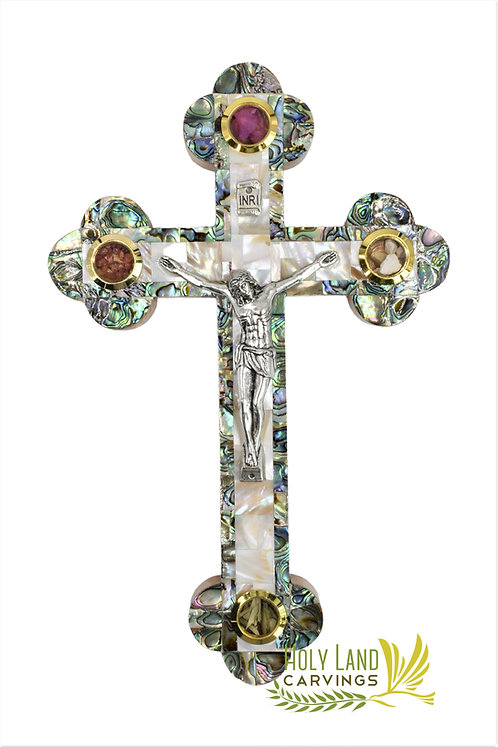 Olive Wood 11 Inch Wall Cross Crucifix Covered with Mother of Pearl