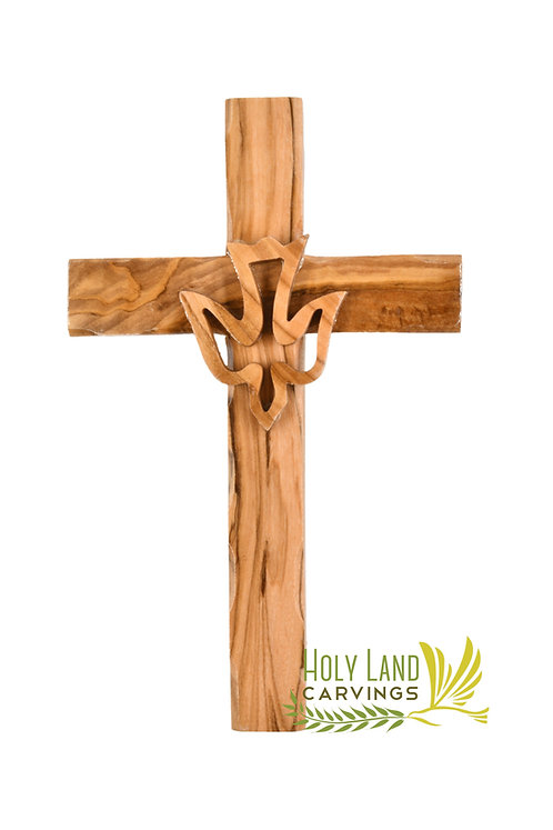 6 Inch Holy Spirit Cross - Olive Wood Wall Hanging Cross