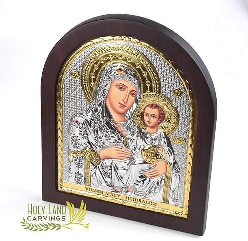 Large Icon of the Blessed Mother & Baby Jesus, Silver Plated Home Blessing Icon