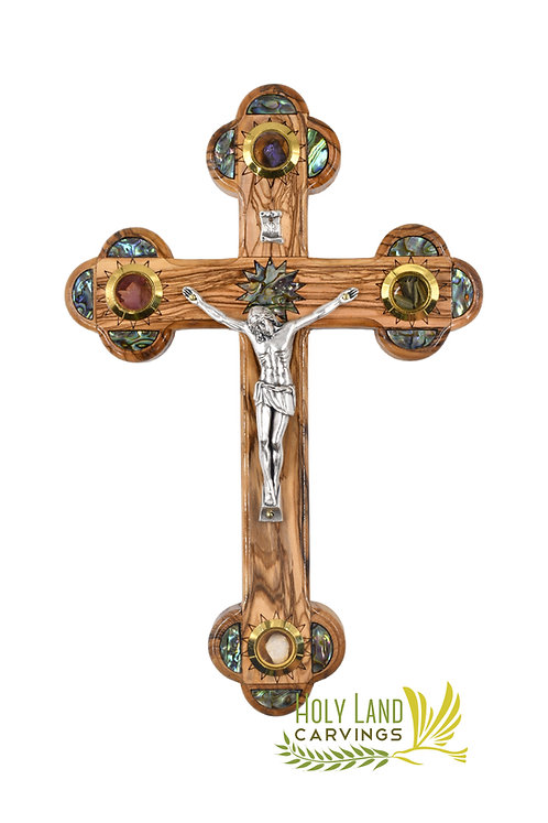Olive Wood Crucifix Cross Decorated with Mother of Pearl - 3 Sizes