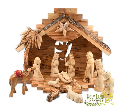 Wooden Nativity Set for Christmas Made of Olive Wood - 13 Piece Figurine