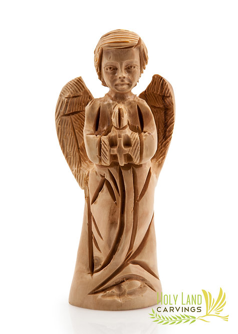 Olive Wood Praying Angel with Facial Details