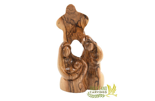 Olive Wood Holy Family Figurine with Star of Bethlehem