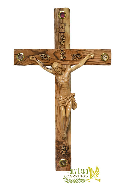 Large 20 Inch Wooden Wall Cross Crucifix For Home Décor Made of Olive Wood