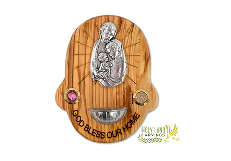 Home Blessing Plaque of Holy Family with Holy Water Holder