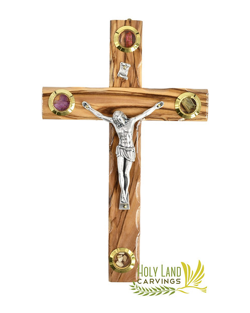 Holy Land Olive Wood Crucifix Cross with 4 Glasses Adorned with Holy Relics