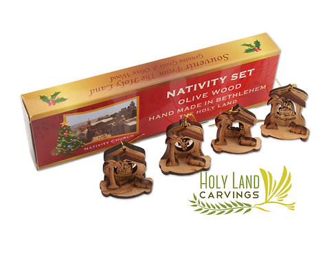 Set of 4 Wooden Ornaments - Olive wood Nativity Scene Ornaments