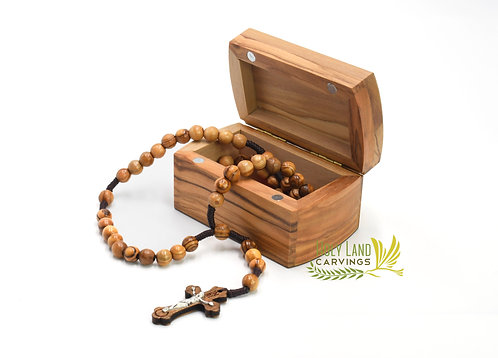 Olive Wood Rosary Box, Wooden Box for Keepsakes With Blessed Rosary