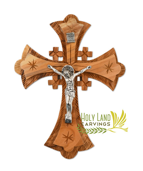 "7"" Jerusalem Cross - Wall Hanging Olive Wood Cross"