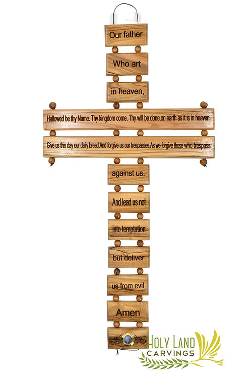 Our Father Prayer 15 Inch Olive Wood Wall Cross