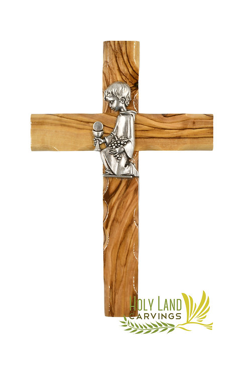 """6"""" Olive Wood Cross Gift For Confirmation and First communion For Girls and Boys"""