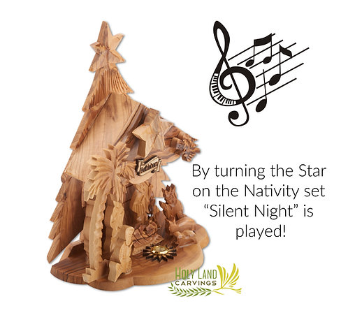 Wooden Nativity Set for Christmas Décor with Music Box