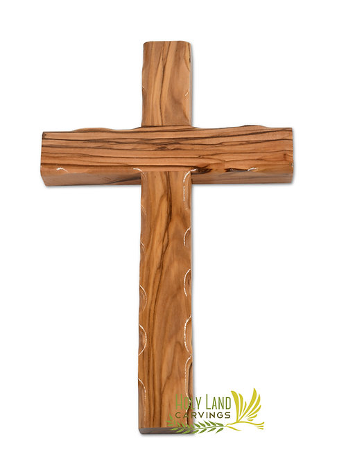8 Inch Wooden Wall Hanging Cross Made of Olive Wood - Perfect for Kids Room