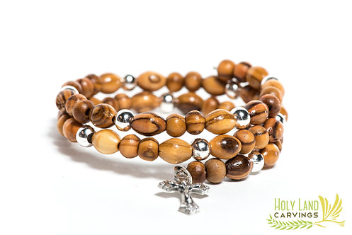 Olive Wood and Silver/Gold Beads Bracelet with a Cross Charm