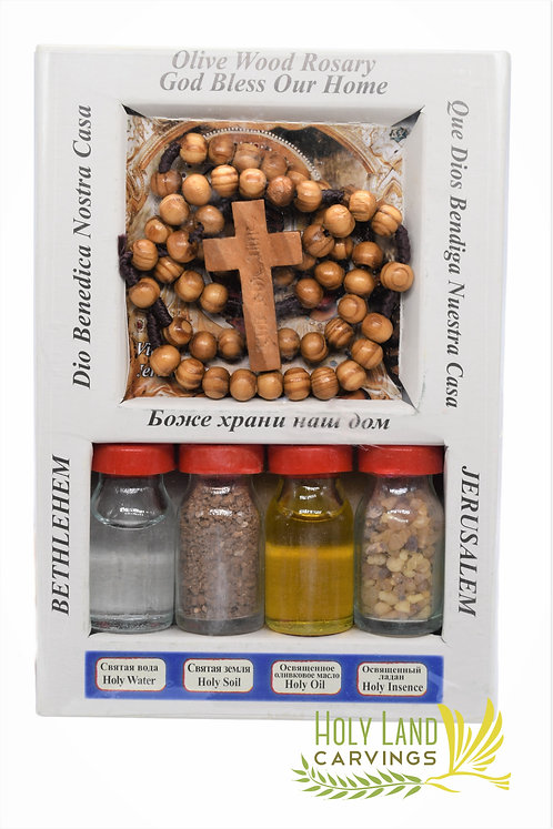 Holy Water-Earth-Incense-Oil & Olive Wood Holy Rosary From the Holy Land
