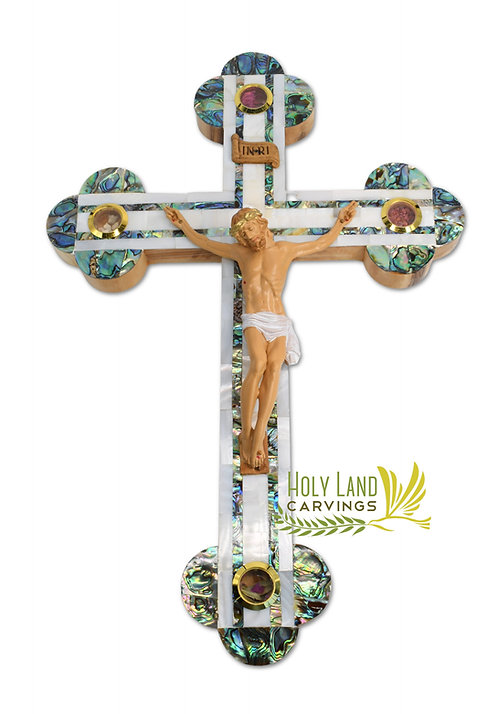 """15"""" Large Catholic Olive Wood Wall Crucifix Covered with Mother of Pearl"""