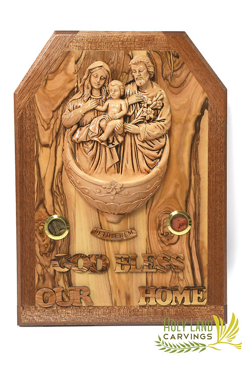 Olive Wood Plaque of the Holy Family, Home Blessing Wall Hanging Décor